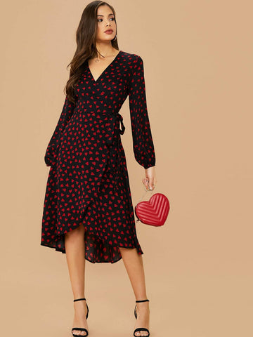 V-Neck High Waist Wrap Tie Side Heart Print Dress