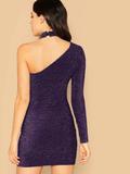 Slim Fit One Shoulder Glitter Dress With Choker