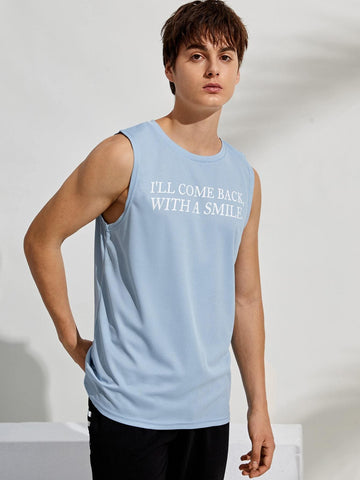 Pastel Blue Round Neck Sleeveless Letter Graphic Tank Top T-Shirt