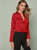 Notched Neckline Rolled Tab Sleeve Satin Top