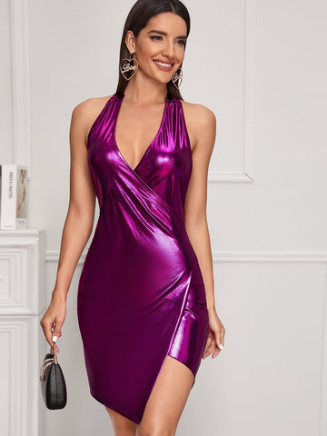 Purple Sleeveless Backless Asymmetrical Hem Metallic Halter Slim Fit Dress