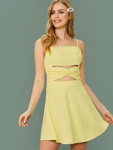 Pastel Yellow Sleeveless Twist Front Peekaboo Cami Dress