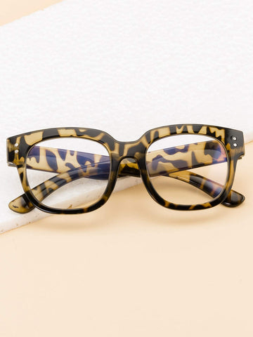 Leopard Frame Glasses With Case