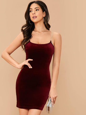 Burgundy Sleeveless Rhinestone Strap Velvet Slim Fit Dress