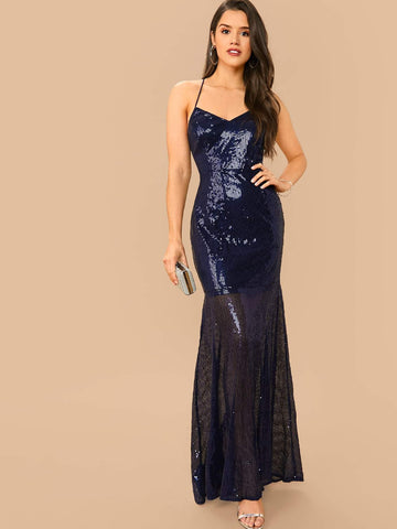Navy Blue Sleeveless Crisscross Back Fishtail Hem Sequin Slim Fit Dress