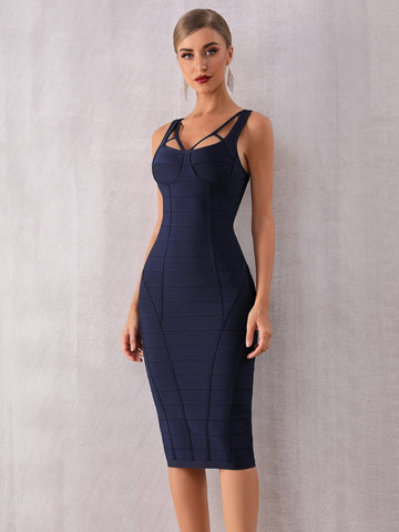Navy Blue Slim Fit Strappy Yoke Textured Bustier Pencil Dress