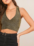 Slim Fit V-Neck Crisscross Tie Back Glitter Tank Top