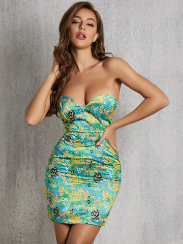 Strapless Sleeveless Ditsy Floral Satin Tube Dress