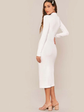 Stand Collar Slim Fit Mock-neck Solid Pencil Dress