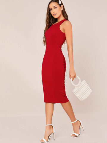 Red Round Neck Ruched Open Back Sleeveless Slim Fit Dress
