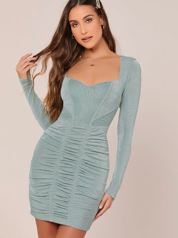Blue Lace Detail Long Sleeve Ruched Slim Fit Mini Dress