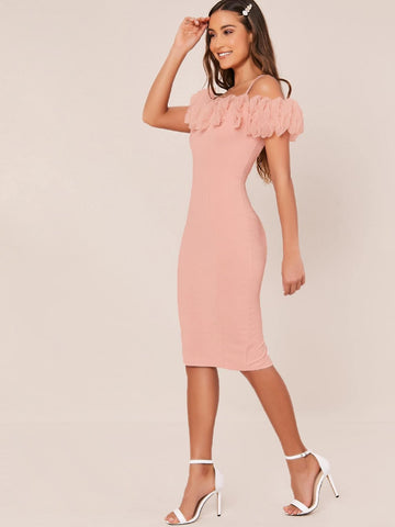 Pink Spaghetti Strap Ruched Ruffle Organza Cold Shoulder Slim Fit Dress