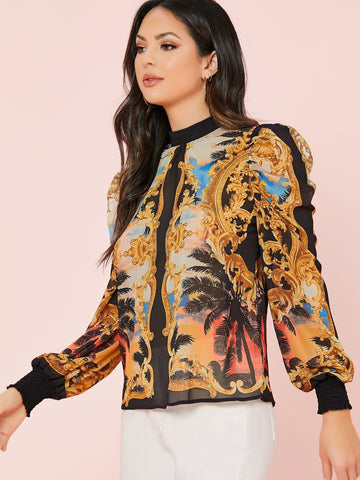 Stand Collar Mock Neck Baroque Print Long Sleeve Blouse Top