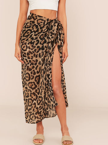 Chiffon Leopard Print Swim Sarong Cover-Up