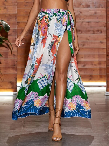 Tie Waist Tropical Print Cover Up Skirt