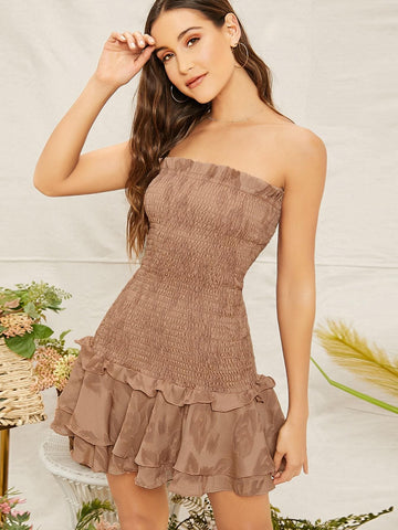Brown Sleeveless Strapless Smocked Mini Dress With Ruffles