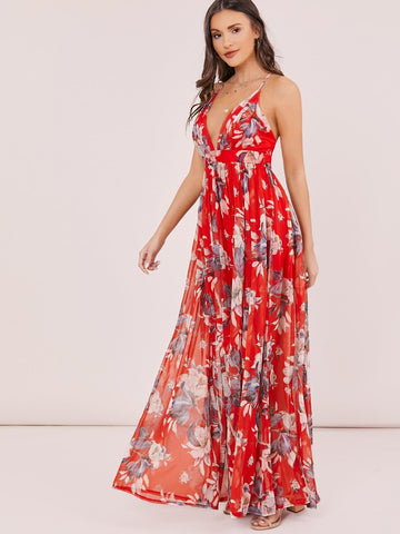 Red Sleeveless Spaghetti Strap Floral Maxi Dress