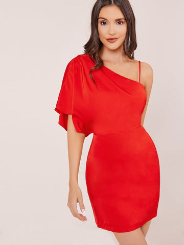 Red High Waist Slim Fit Draped One Shoulder Mini Dress