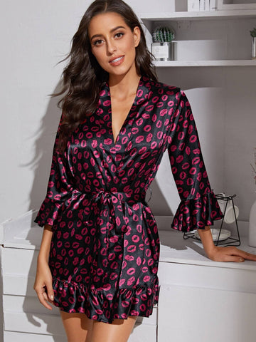 V-Neck Three Quarter Sleeve Belted Ruffle Hem Lipstick Print Satin Night Robe