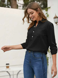 Notched Neckline Solid Rolled Up Sleeve Pocket Front Blouse Top