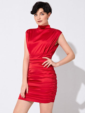 Bright Red Stand Collar Mock-Neck Ruched Satin Dress