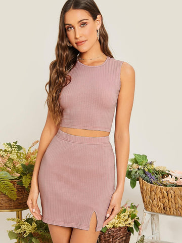 Round Neck Sleeveless Slim Fit Solid Rib-knit Crop Tank Top and Split Hem Skirt Set
