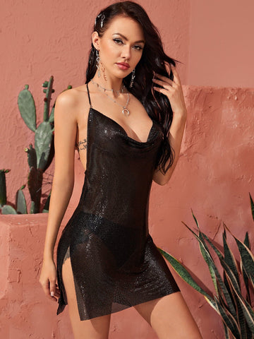 Black Sleeveless Draped Detail Sheer Metallic Halter Mini Dress