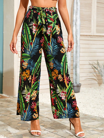 High Waist Tropical Print Self Belted Wide Leg Pants