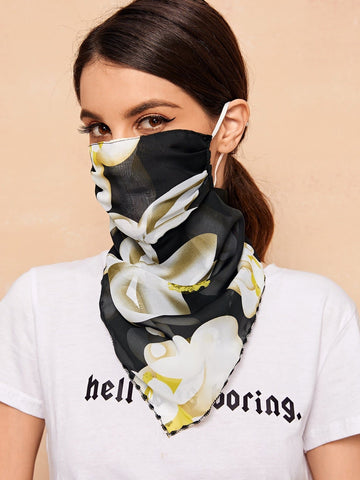 Flower Pattern Face Protection Mask Scarf