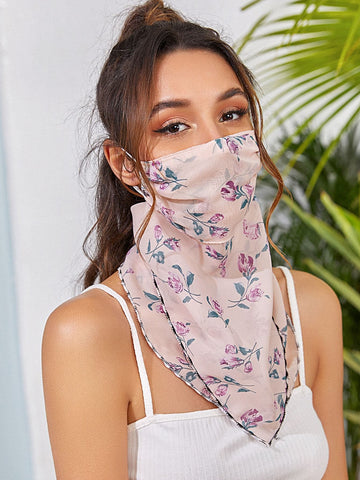 Floral Pattern Face Protection Mask Scarf