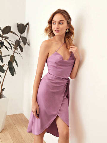 Pastel Purple Sleeveless One Shoulder Cowl Neck Top and Tie Side Wrap Skirt Set