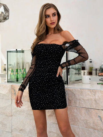 Square Neck Off Shoulder Sequin Mesh Slim Fit Dress