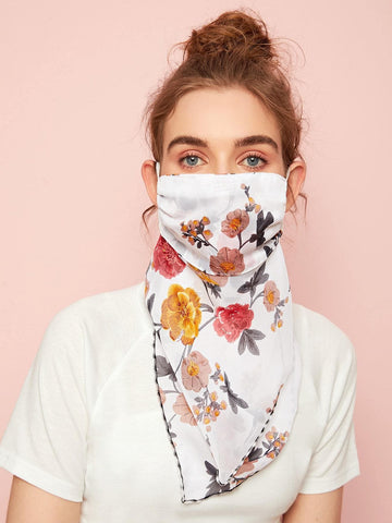 Boho Floral Pattern Face Protection Mask Scarf