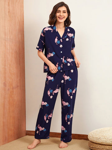 Navy Blue Short Sleeve Flamingo Print Sleepwear Set