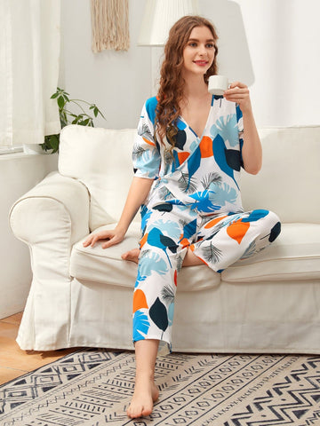 V-Neck Short Sleeve Plants Print Sleepwear Set