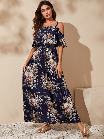 Cold Shoulder Flounce Half Sleeve Trim Floral Maxi Dress