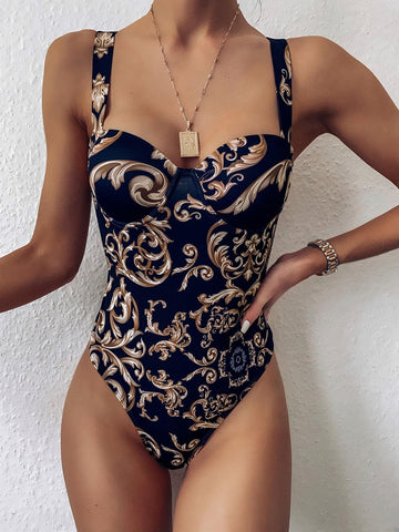 Baroque Print Underwire High Leg One Piece Swimsuit
