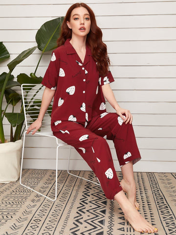 Burgundy Short Sleeve Strawberry and Letter Graphic Lapel Neck Sleepwear Set