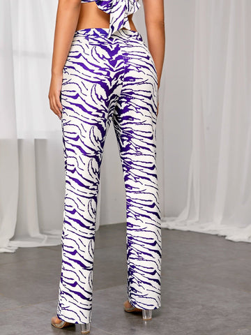 High Waist Zipper Fly Tiger Striped Straight Leg Pants
