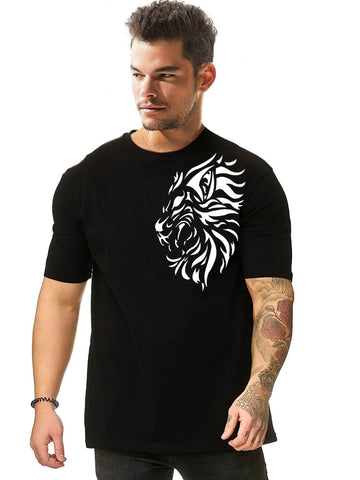 Black Round Neck Graphic Print Short Sleeve Tee T-Shrit