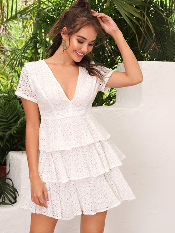 Short Sleeve Plunging Neck Layered Ruffle Hem Schiffy Dress