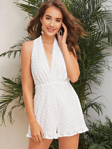 White Sleeveless High Waist Dot Lace Trim Tied Open Back Embroidered Romper Jumsuit