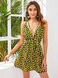 Sleeveless Plunging Neck Crisscross Open Back Daisy Mini Dress