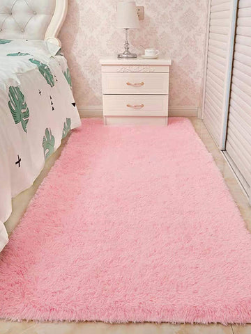 Pink Solid Plush Floor Mat