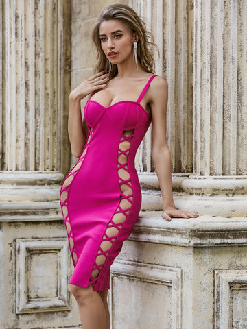 Hot Pink Crisscross Sleeveless Cut-out Bustier Bandage Slim Fit Dress