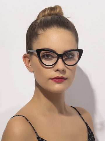 Black Frame Clear Cat Eye Glasses
