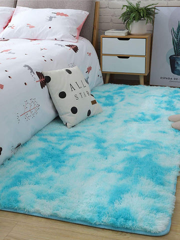 Mint Blue Solid Faux Fur Floor Mat