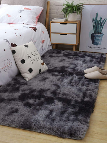 Grey Solid Faux Fur  Floor Mat