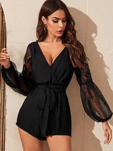 Surplice V-Neck Sheer Lace Bishop Sleeve Short High Waist Romper Jumpsuit
