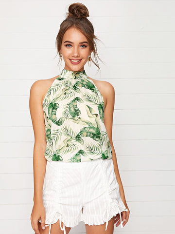 Sleeveless Tie Back Tropical Print Halter Top